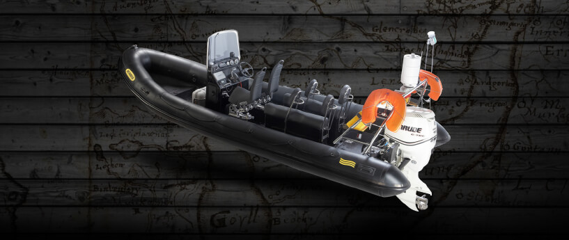 powerboat with wood background